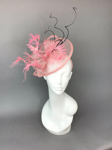 Pink and Black Fascinator, British Hat, Womens Tea Party Hat, Church Hat, Derby Hat, Fancy Hat, Pink Hat, Tea Party Hat, wedding hat