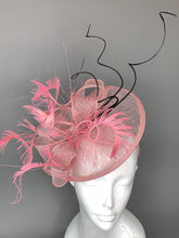 Load image into Gallery viewer, Pink and Black Fascinator, British Hat, Womens Tea Party Hat, Church Hat, Derby Hat, Fancy Hat, Pink Hat, Tea Party Hat, wedding hat
