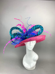 Kentucky Derby Hat with Lady Amherst  feathers, Ostrich Spines, Church hat, Tea Party Hat, Custom hat, Formal Hat, Fashion Hat
