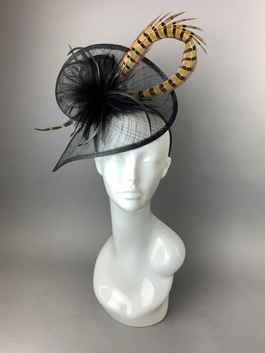 Black Fascinator with Pheasant Feather attaches with headband, Women's Tea Party Hat, Derby Hat, Wedding Hat, Kentucky Der