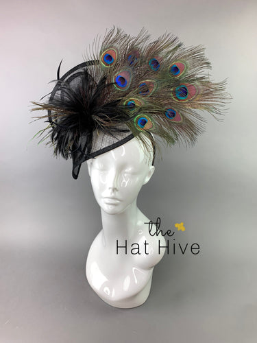 Black Fascinator with Peacock Feathers attaches on headband, Women's Tea Party Hat, Derby Hat, Wedding Hat, Kentucky Derby