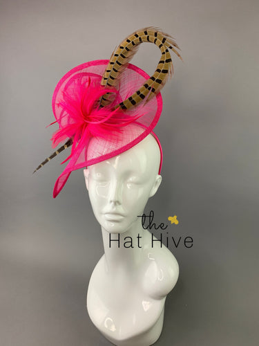Fuchsia Pink Fascinator with Pheasant Feather attaches with headband, Women's Tea Party Hat, Derby Hat, Wedding Hat, Kentucky Der