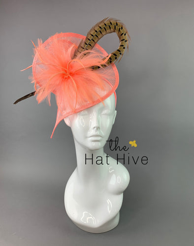 Coral Pink Fascinator with Pheasant Feather attaches with headband, Women's Tea Party Hat, Derby Hat, Wedding Hat, Kentucky Der