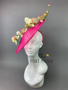 Fuchsia Orchid Fascinator attaches with headband, Derby Hat, Women's Church Hat, Hatinator, Fancy Hat, Tea Party Hat, wedding hat