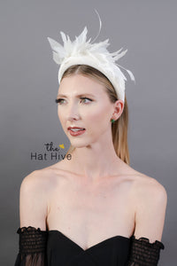 White Fascinator Headband - Bridal Fascinator -  Women's Tea Party Hat, Derby Hat, Bridal Hat, White Hat, Tea Party Hat, wedding hat
