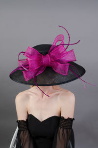 Black & Magenta Derby Hat, Black Church hat, Tea Party Hat, Black and pink Hat, Tea Party Hat, Fashion Hat, Church Hat, Wide Brim hat