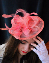 Load image into Gallery viewer, Coral Fascinator, Tea Party Hat, Church Hat, Derby Hat, Fancy Hat, Pink Hat, Wedding Hat, British Hat, Coral Hat