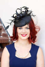 Load image into Gallery viewer, The Madelyn Black Fascinator with veil, Women's Tea Party Hat, Church Hat, Derby Hat, Fancy Hat, Black Hat, Tea Party Hat, wedding hat