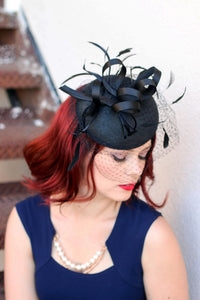 The Madelyn Black Fascinator with veil, Women's Tea Party Hat, Church Hat, Derby Hat, Fancy Hat, Black Hat, Tea Party Hat, wedding hat