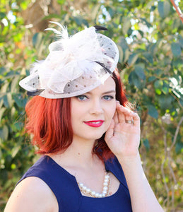 Black & White Fascinator, Womens Tea Party Hat, Church Hat, Derby Hat, Fancy Hat, Black Hat, Tea Party Hat,wedding hat