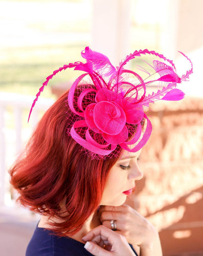 The Ellie Hot Pink Fascinator, Women's Tea Party Hat, Church Hat, Derby Hat, Fancy Hat, Bachelorette Hat, Tea Party Hat, wedding hat