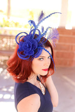 Load image into Gallery viewer, The Ellie Royal Blue Fascinator, Womens Tea Party Hat, Church Hat, Derby Hat, Fancy Hat, Bachelorette Hat, Tea Party Hat, wedding hat