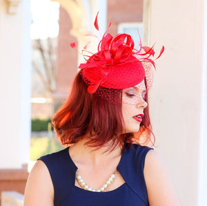 Red Fascinator with Veil, Tea Party Hat, Church Hat, Kentucky Derby Hat, Fancy Hat, Red Hat, Tea Party Hat, wedding hat, womens hat