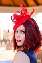 Load image into Gallery viewer, Red Fascinator with Veil, Tea Party Hat, Church Hat, Kentucky Derby Hat, Fancy Hat, Red Hat, Tea Party Hat, wedding hat, womens hat