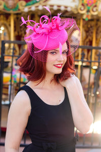 Hot Pink Fascinator with Veil, Tea Party Hat, Church Hat, Kentucky Derby Hat, Fancy Hat, Pink Hat, Tea Party Hat, wedding hat, British Hat