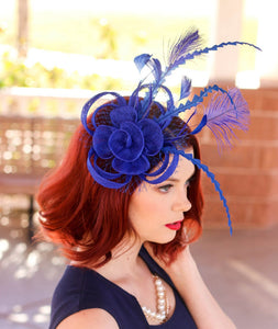 The Ellie Royal Blue Fascinator, Womens Tea Party Hat, Church Hat, Derby Hat, Fancy Hat, Bachelorette Hat, Tea Party Hat, wedding hat