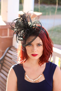 Black Fascinator on headband - light and easy to wear Women's Hat with Veil, Kentucky Derby Hat, wedding hat, British Hat
