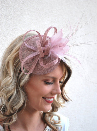 The Haleigh Blush Pink Fascinator, Tea Party Hat, Church Hat, Derby Hat, Fancy Hat, Pink Hat, Tea Party Hat, wedding hat