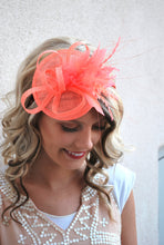 Load image into Gallery viewer, The Haleigh Coral Fascinator, Tea Party Hat, Church Hat, Kentucky Derby Hat, Fancy Hat, Pink Hat, Wedding Hat, British Hat, Coral Hat
