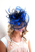 Load image into Gallery viewer, Royal Blue & Navy Fascinator, Womens Tea Party Hat, Hat with Veil, Kentucky Derby Hat, Fancy Hat, Tea Party Hat, wedding hat, British Hat