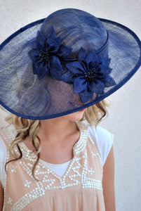 Navy Sinamay Derby Hat