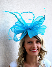 Load image into Gallery viewer, Turquoise Fascinator, Tea Party Hat, Church Hat, Kentucky Derby Hat, Fancy Hat, British, Wedding Hat, Fascinator, womens hat