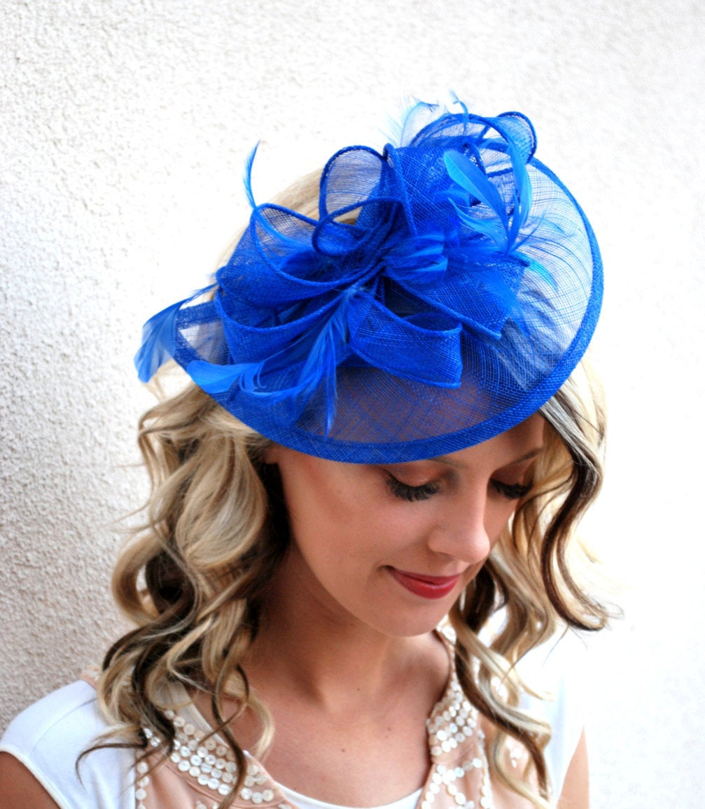 The Kenni Royal Blue Fascinator, Tea Party Hat, Church Hat, Derby Hat, Fancy Hat, High Tea Hat, wedding hat, Blue Fascinator, womens hat