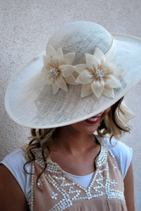 Ivory Sinamay Derby Hat