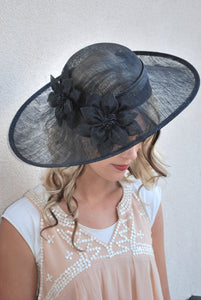 Black Sinamay Derby Hat