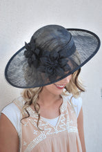 Load image into Gallery viewer, Black Sinamay Derby Hat