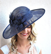 Load image into Gallery viewer, Navy Sinamay Derby Hat