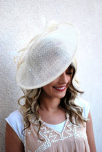 Load image into Gallery viewer, large Ivory Fascinator Derby Hat, Womens Tea Party Hat, Church Hat, Derby Hat, Fancy Hat, Ivory Hat, Tea Party Hat, wedding hat