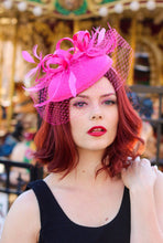 Load image into Gallery viewer, Hot Pink Fascinator with Veil, Tea Party Hat, Church Hat, Kentucky Derby Hat, Fancy Hat, Pink Hat, Tea Party Hat, wedding hat, British Hat