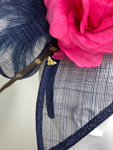 NAVY WITH FUCHSIA PINK FLOWER FASCINATOR