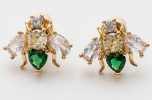 Load image into Gallery viewer, GREEN CUBIC ZIRCONIA BEE EARRINGS