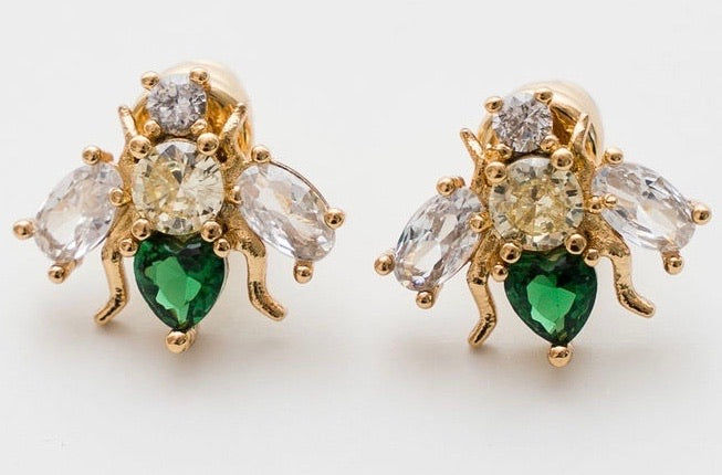 GREEN CUBIC ZIRCONIA BEE EARRINGS