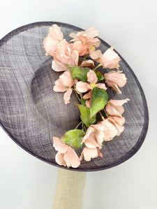 LIGHT GREY HATINATOR WITH DUSTY PINK PETALS FASCINATOR