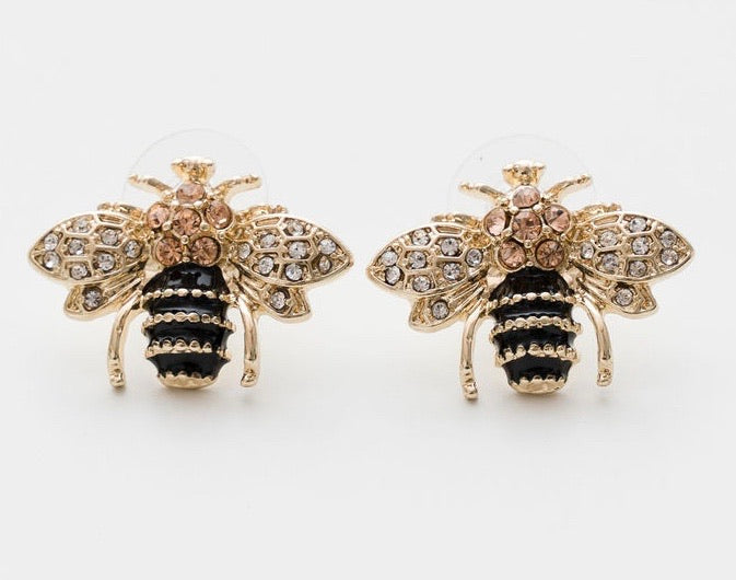GOLD CRYSTAL BEE EARRINGS