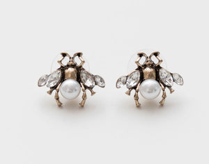 VINTAGE CRYSTAL BEE EARRINGS