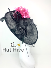 Load image into Gallery viewer, Black Hatinator With Fuchsia Flowers