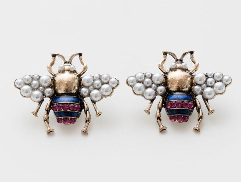 PINK PEARL VINTAGE BEE EARRINGS