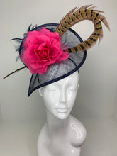 Load image into Gallery viewer, NAVY WITH FUCHSIA PINK FLOWER FASCINATOR