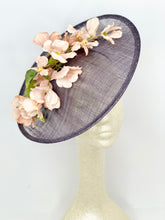 Load image into Gallery viewer, LIGHT GREY HATINATOR WITH DUSTY PINK PETALS FASCINATOR