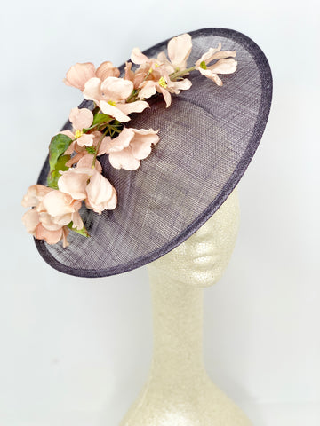 Grey with pink flowers Fascinator