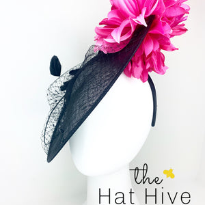 Black Hatinator With Fuchsia Flowers