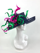 Load image into Gallery viewer, NAVY BLUE DERBY HAT w/ FUCHSIA & GREEN CURLS