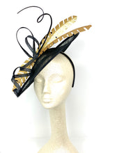 Load image into Gallery viewer, BLACK & GOLD FEATHER HATINATOR