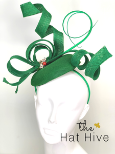 Emerald Green Fascinator / Red Jewel Bee