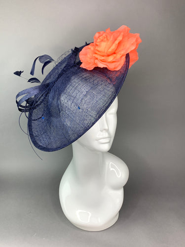 Navy Blue & Coral Rose Hatinator