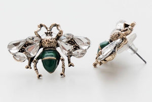 CRYSTAL RETRO BEE EARRINGS